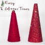 Easy Yarn & Glitter Trees
